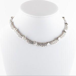 Vintage Monet Silver Tone Filigree Collar Necklace